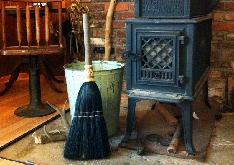 Fireplace Broom in your choice of Natural Hearth Broom Rust or Mixed Broomcorn Black