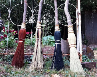 Wedding Besom, Jumping Broom in your choice of Natural, Black, Rust or Mixed Broomcorn - Broom Jumping & Handfasting Broom