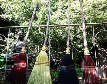 Kitchen Broom in your choice of Natural, Black, Rust or Mixed Broomcorn - Shaker Broom For Sweeping