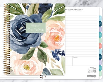 8.5x11 weekly planner 2021 2022   choose your start month   12 month calendar   LARGE WEEKLY PLANNER   navy blush roses