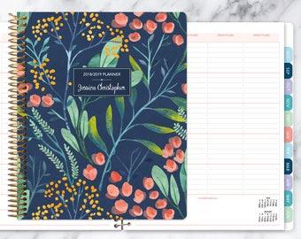 teacher planner 8.5x11 | 2018-2019 lesson plan calendar | weekly teacher planner | personalized teacher planbook | navy watercolor floral