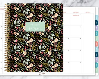 8.5x11 MONTHLY PLANNER notebook   2021 2022 no weekly view   choose your start month   12 month calendar   black meadow floral