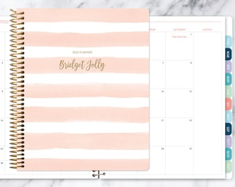 8.5x11 MONTHLY PLANNER notebook   2021 2022 no weekly view   choose your start month   12 month calendar   pink watercolor stripes
