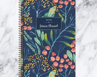 bullet journal NOTEBOOK | personalized journal | travel journal | dot grid notebook | lined | spiral notebook | navy watercolor floral