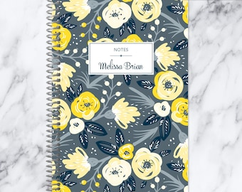 travel journal NOTEBOOK | personalized journal | bullet journal | personalized gift | blank spiral notebook | grey yellow floral pattern