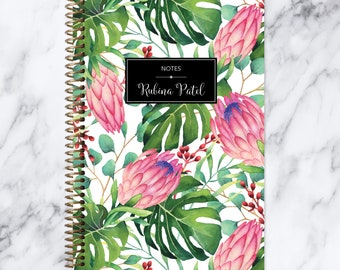 bullet journal NOTEBOOK | personalized journal | travel journal | dot grid notebook | lined | spiral notebook | tropical floral