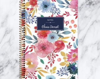 NOTEBOOK personalized journal | bullet journal | travel journal | personalized gift | spiral notebook | blue pink white watercolor floral