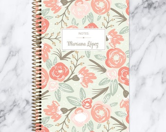 travel journal NOTEBOOK | personalized journal | bullet journal | personalized gift | blank spiral notebook | sage pink gold floral