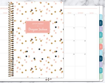MONTHLY PLANNER | 2018 2019 no weekly view | choose your start month | 12 month calendar monthly tabs personalized | pink gold confetti