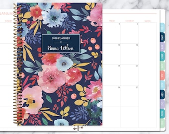 MONTHLY PLANNER | 2018 2019 no weekly view | choose your start month | 12 month calendar monthly tabs | navy blue pink watercolor floral
