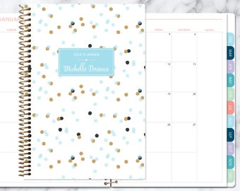 MONTHLY PLANNER | 2018 2019 no weekly view | choose your start month | 12 month calendar monthly tabs personalized | blue gold confetti