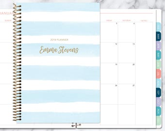 MONTHLY PLANNER | 2018 2019 no weekly view | choose your start month | 12 month calendar monthly tabs personalized | blue watercolor stripes