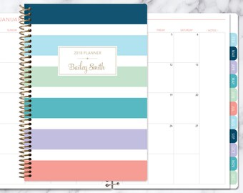 MONTHLY PLANNER | 2018 2019 no weekly view | choose your start month | 12 month calendar monthly tabs personalized | colorful big stripes