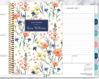 personalized planner 2022 | 12 month calendar | weekly planner 2021-2022 | custom agenda | gifts for mom | field flowers blue