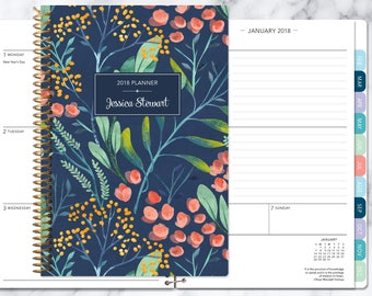 personalized planner 2018 & 2019 calendar | add monthly tabs custom weekly student planner | planner agenda | navy watercolor floral