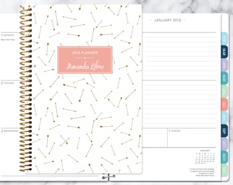 student planner 2018-2019 calendar | weekly planner add monthly tabs | personalized planner agenda daytimer | gold pink arrows