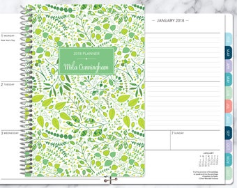 2018 planner calendar choose start month add monthly tabs weekly student planner personalized agenda daytimer green leaves vines