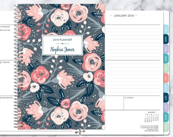 agenda planner 2018 & 2019 calendar | add monthly tabs custom weekly student planner | personalized planner | pink grey floral pattern