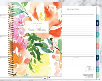 2018 2019 planner calendar choose start month | add monthly tabs weekly student planner personalized agenda | citrus watercolor floral