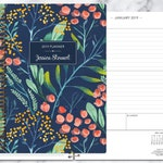 2019 planner | 2019-2020 calendar | weekly student planner add monthly tabs | personalized planner agenda daytimer | navy watercolor floral