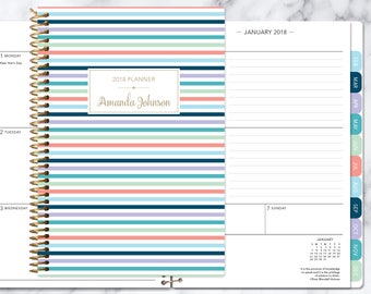 planner 2018 2019 stripes calendar choose start month | add monthly tabs weekly student planner personalized agenda | colorful stripes