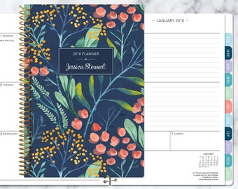 planner 2018 | 12 month calendar | add monthly tabs weekly student planner | personalized planner agenda | navy watercolor floral