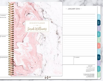 academic planner 2018 2019 calendar weekly student planner daytimer add monthly tabs personalized planner agenda pink marble