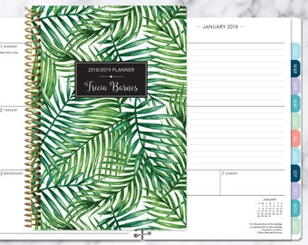 planner 2018   2018-2019 weekly planner   calendar student planner add monthly tabs   personalized agenda daytimer   green tropical palms