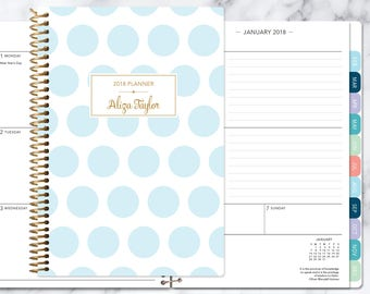 planner 2018 & 2019 calendar | add monthly tabs custom weekly student planner | personalized planner agenda | blue gold polka dots