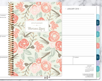 2018 planner 12 month calendar | add monthly tabs weekly student planner | personalized planner agenda | sage pink gold floral pattern