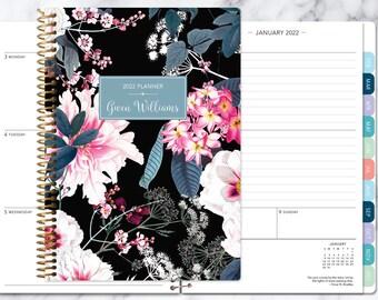 personalized planner 2022   12 month calendar   weekly planner 2021-2022   custom agenda   gifts for mom   black pink elegant floral