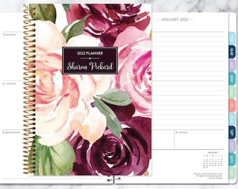 agenda 2021 2022   personalized planner   12 month planner   add monthly tabs   custom weekly planner   daytimer   plum blush roses