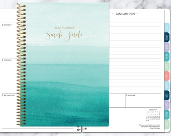 academic planner 2021-2022 calendar | weekly student planner | add monthly tabs | personalized planner agenda | teal watercolor ombré