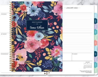 2022 planner weekly planner | 12 month calendar | add monthly tabs student planner | personalized agenda | navy blue pink watercolor floral