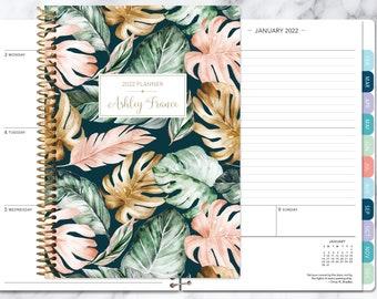weekly planner | 2021-2022 personalized planner | student planner | secret santa gift | agenda daytimer | green blush gold tropical