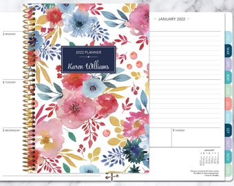 weekly planner 2021 2022 | personalized planner | 12 month planner | add monthly tabs |  2022 agenda | pink blue white watercolor floral