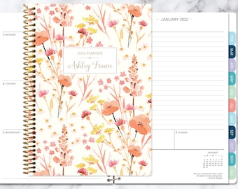 personalized planner 2022 | 12 month calendar | weekly planner 2021-2022 | custom agenda | gifts for mom | field flowers pink