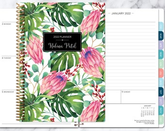academic planner 2021-2022 calendar | weekly student planner add monthly tabs | personalized planner agenda | tropical floral