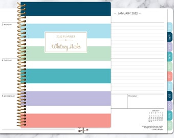 2021 2022 planner 12 month calendar | add monthly tabs weekly student planner | personalized planner agenda daytimer | colorful stripes big