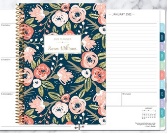 planner 2022 | 2021-2022 weekly planner | calendar student planner add monthly tabs | personalized agenda daytimer | navy pink gold floral