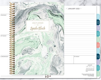 planner 2022 | 2021-2022 weekly planner | calendar student planner add monthly tabs | personalized agenda daytimer | mint green marble
