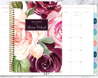 MONTHLY PLANNER   2021 2022 no weekly view   choose your start month   12 month calendar monthly tabs personalized   plum blush roses