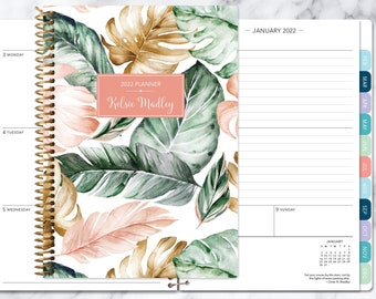 2022 planner | 2021 2022 weekly planner | student planner | personalized gift agenda daytimer | blush gold tropical