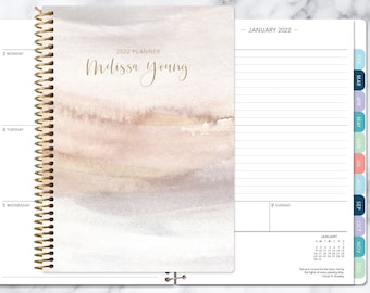 personalized planner 2021   12 month calendar   weekly planner 2021-2022   custom agenda   gifts for mom   neutral watercolor gradient