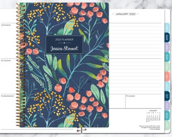 personalized planner 2021-2022 calendar | add monthly tabs custom weekly student planner | planner agenda | navy watercolor floral