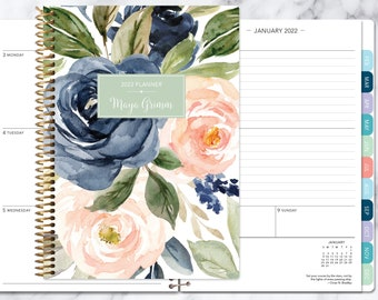 planner 2022 | 2021-2022 weekly planner | calendar student planner add monthly tabs | personalized agenda daytimer | navy blush roses