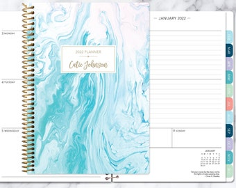 weekly planner 2021-2022 calendar | add monthly tabs custom student planner | personalized planner agenda | aqua blue marble