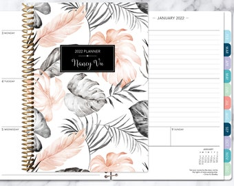 2022 planner | 2021 2022 weekly planner | student planner | personalized planner | agenda planner | blush grey tropical