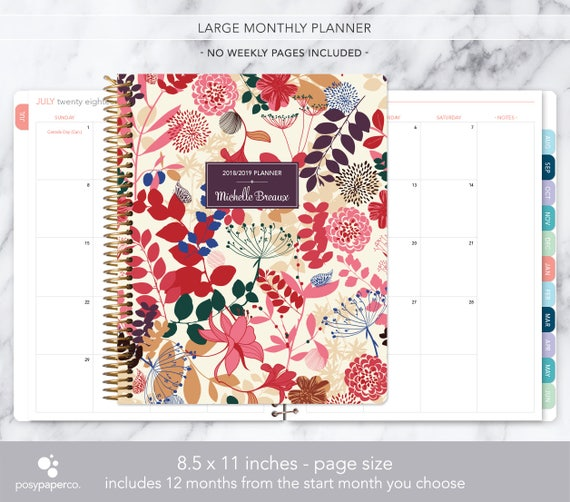 8 5x11 monthly planner notebook 2018 2019 no weekly view etsy