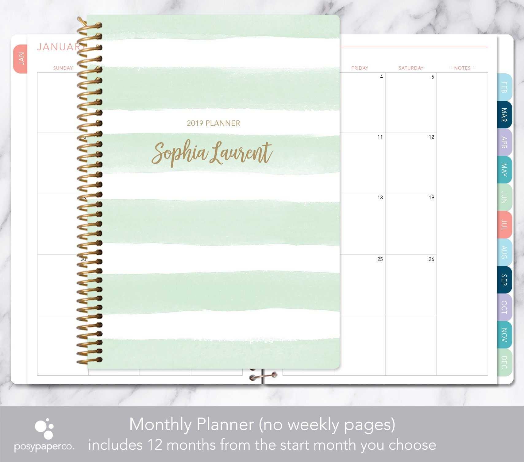50 Graduation Commence Mints 2019 Or 2020 Graduation: MONTHLY PLANNER 2019 2020 No Weekly View Choose Your Start